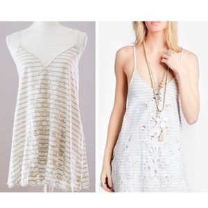 New Free People Ivory Embroidered Shirt Dress